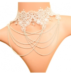 Elegante collar con colgante DIAMOND BLANCO