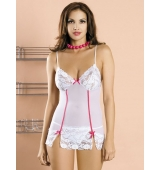 Bloom white chemise, camisola y tanga