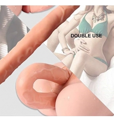 DILDO DOBLE CABEZA NATURAL BLANDITO Y FLEXIBLE