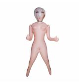 Muñeca hinchable rubia con cara serigrafiada