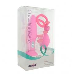 Plug anal inflable con vibración rosa